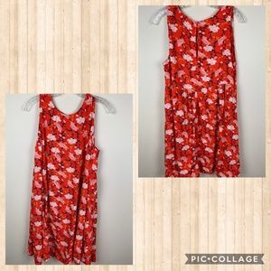 Women Old Navy Petite Floral Red Dress Large
